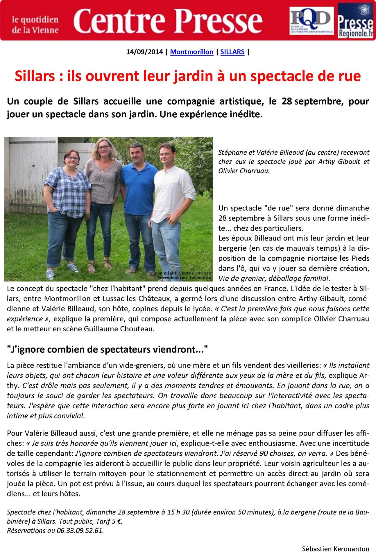 2014-09-14 - Vie de Grenier - Centre Presse