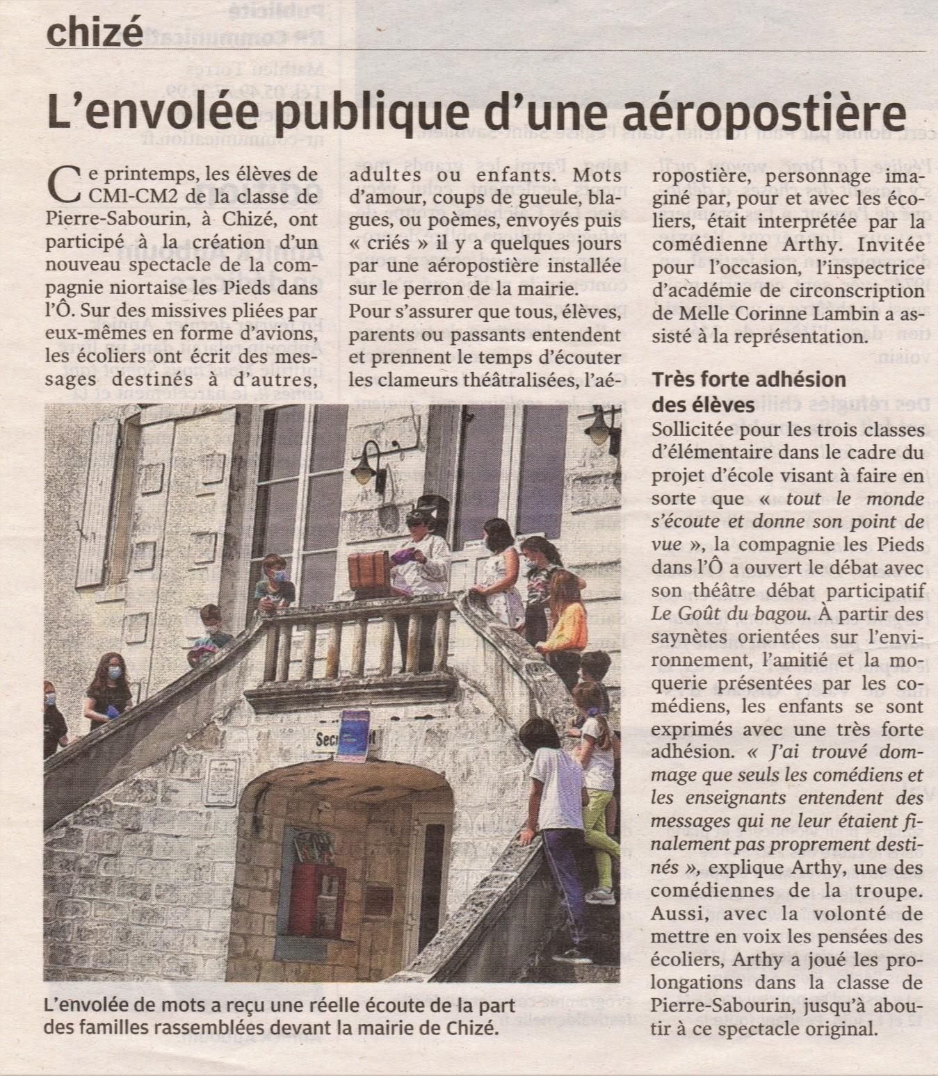 Article de presse du 4 juin 2021, l'AérÔ-Postière